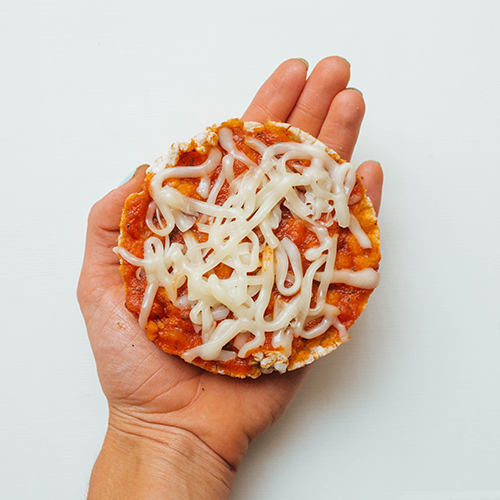 Healthy snack ideas - pizza rice cake