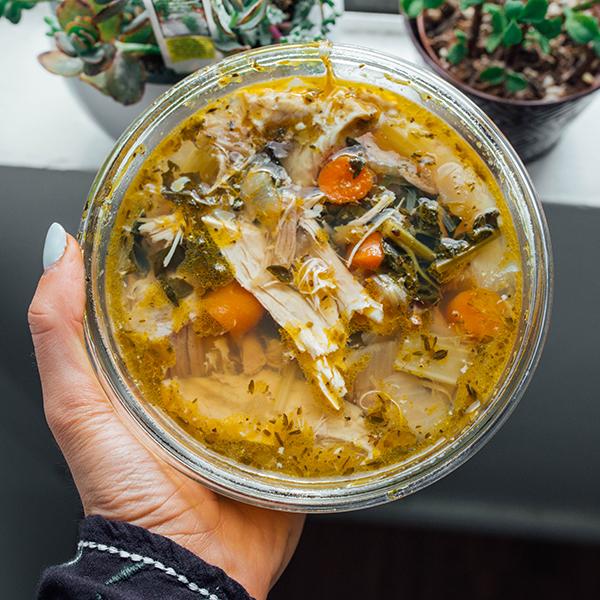 Paleo chicken soup - bowl of soup