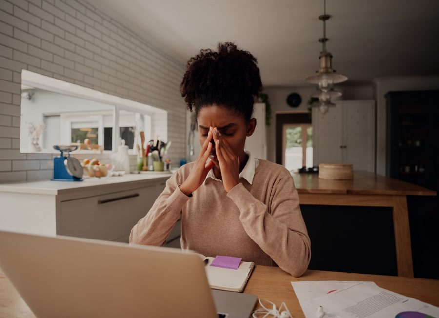 woman stressed working
